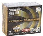 Federal Personal Defense 9mm Luger Ammo 135 Grain Hydra-Shok JHP