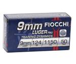 Fiocchi Shooting Dynamics 9mm Luger Ammo 124 Grain Full Metal Jacket