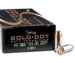 Speer Gold Dot LE Duty 40 S&W Ammo 155 Grain Jacketed Hollow Point
