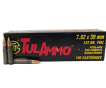 Tul 7.62x39mm Russian Ammo 122 Grain FMJ 100 Round Packs