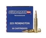 Ultramax Remanufactured Ammo 223 Remington 52 Grain Jacket Hollow Point Ammunition
