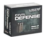 Liberty Civil Defense Ammo 9mm Luger +P 50 Grain Fragmenting HPLF