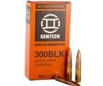 Gemtech Ammunition 300 AAC Blackout Ammo 220 Grain Sierra MatchKing Hollow Point