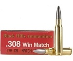 Black Hills 308 Winchester Match Ammo 175 Grain Boat Tail Hollow Point