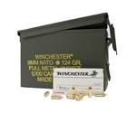 Winchester USA 9mm NATO Ammo 124 Gr FMJ 1000 Rds in Can