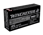 Winchester 45 ACP Auto Ammo 230 Grain Full Metal Jacket Super Suppressed