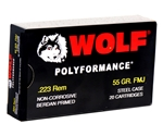 Wolf Polyformance 223 Remington Ammo 55 Gr FMJ Steel Case