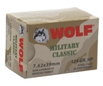 Wolf Military Classic 7.62x39mm Ammo 124 Gr JHP Steel Case