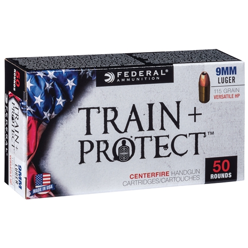 Federal Train and Protect 9mm Luger Ammo 115 Grain Versatile Hollow Point