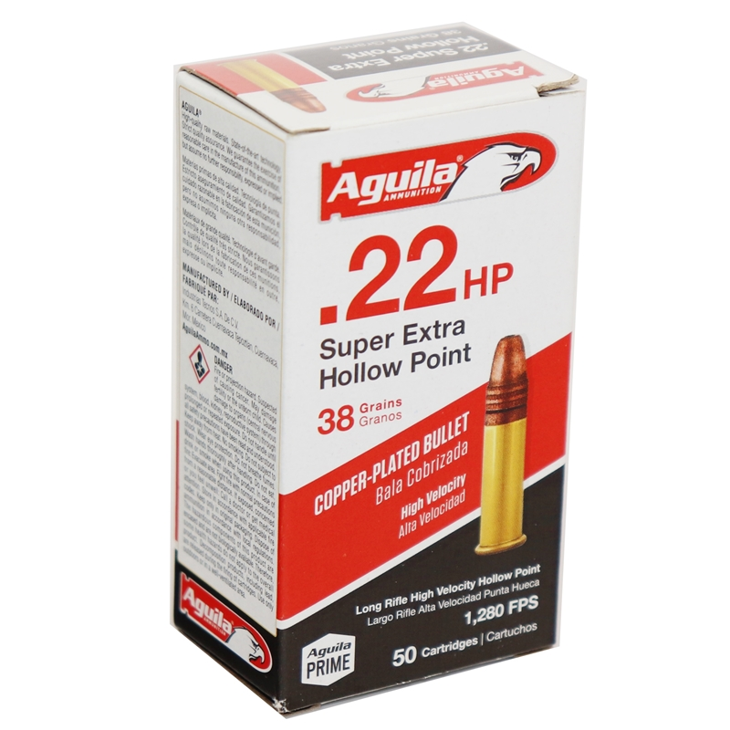 Aguila SuperExtra 22 Long Rifle Ammo 38 Grain High Velocity Hollow Point