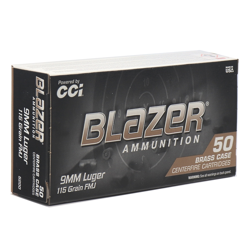 CCI Blazer Brass 9mm 115 Grain Full Metal Jacket