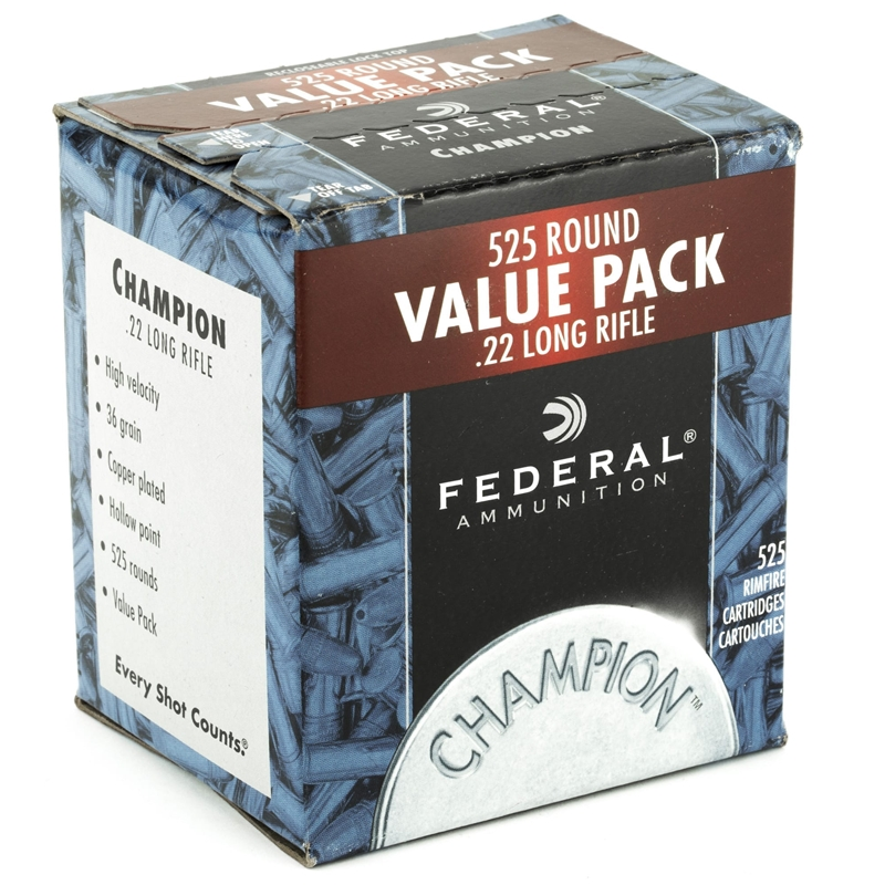 Federal Champion 22 LR Ammo 36 Grain Copper Plated Hollow Point Value Pack 525 Rounds
