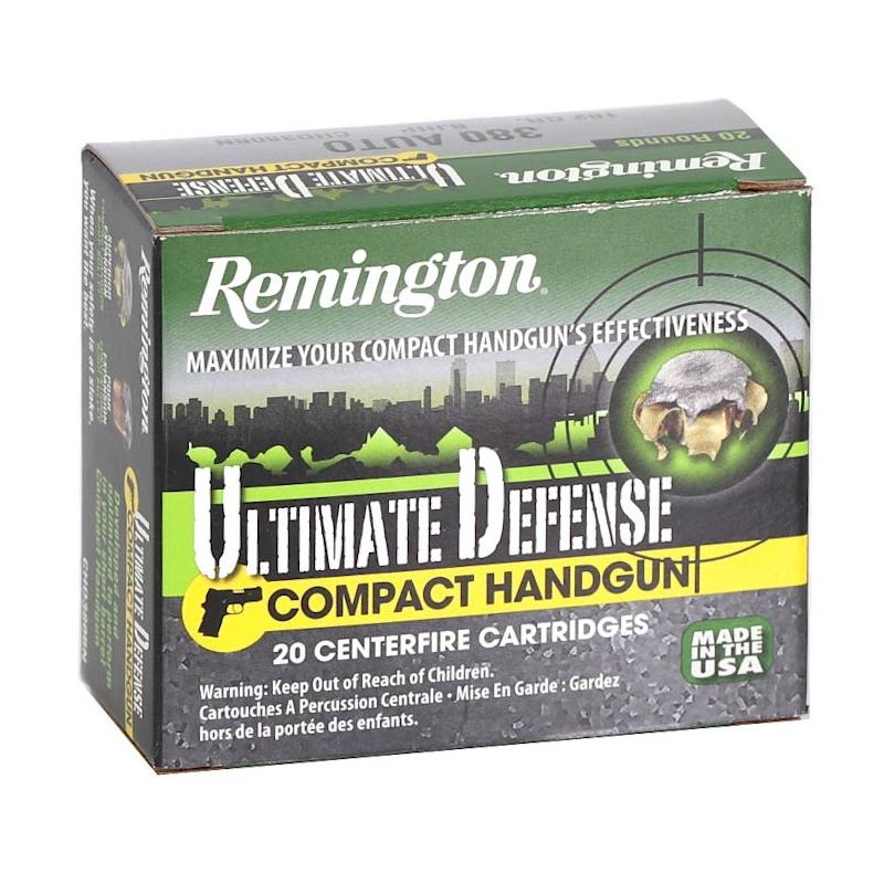 Remington Ultimate Defense Compact Handgun 380 ACP AUTO Ammo 102 GR Brass JHP