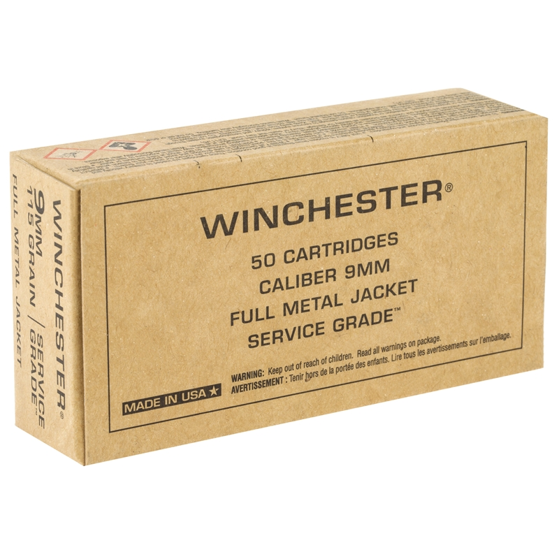 Winchester Service Grade 9mm Luger Ammo 115 Grain Full Metal Jacket