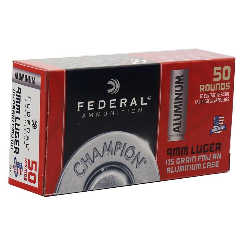 Federal Champion Aluminum 9mm Luger Ammo 115 Grain FMJ