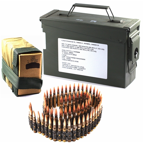 Federal Lake City 7.62x51mm M80/M62 Ammo 147/142 Grain FMJ/Tracer 200 Rounds Bulk Ammo Can