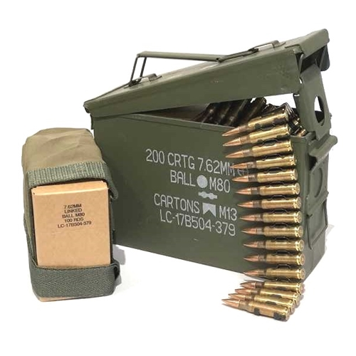 Federal Lake City 7 62x51mm M80 Ammo 147 Grain FMJ 200 Rounds Linked Ammo  Can