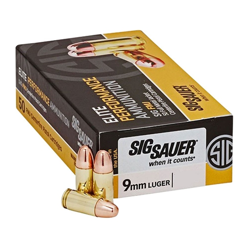 Sig Sauer Elite Performance 9mm Luger Ammo 124 Grain FMJ
