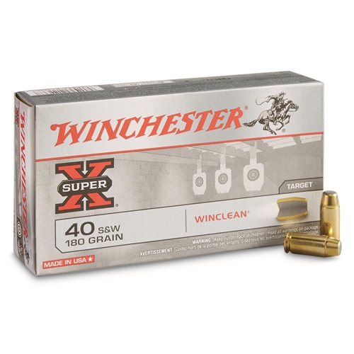 Winchester USA WinClean 40 S&W Ammo 180 Grain Enclosed Brass