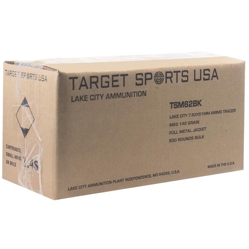 Target Sports USA Lake City 7.62x51mm M62 Tracer Ammo 142 Grain FMJ Bulk 500 Rounds