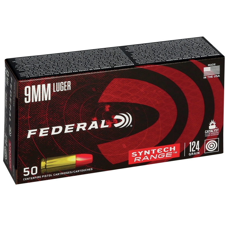 Federal Syntech 9mm Luger Ammo 124 Grain Total Synthetic Jacket