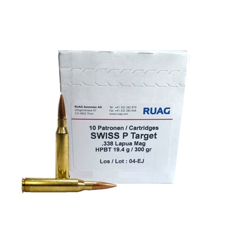 Ruag Swiss P 338 Lapua Magnum Target Ammo 300 Grain Hollow Point Boat Tail