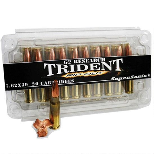 G2R Trident 7.62x39 Ammo 124 Grains Solid Copper Hollow Point