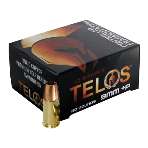 G2R Telos 9mm +P Luger  Ammo 92 Grain Hollow Point Solid Copper Lead-Free
