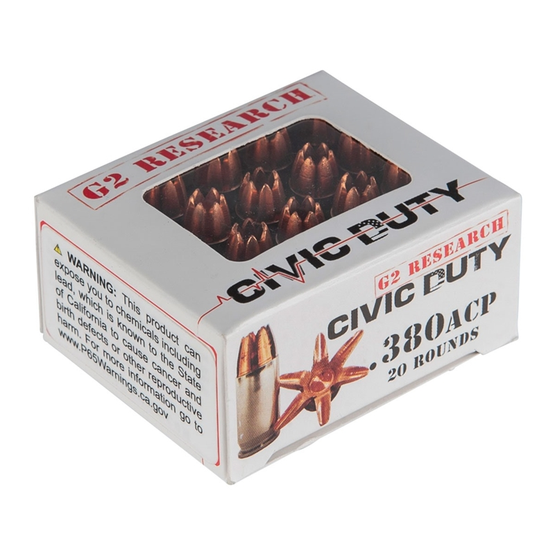 G2R Civic Duty 380 ACP AUTO Ammo 62 Grain Solid Copper Lead Free