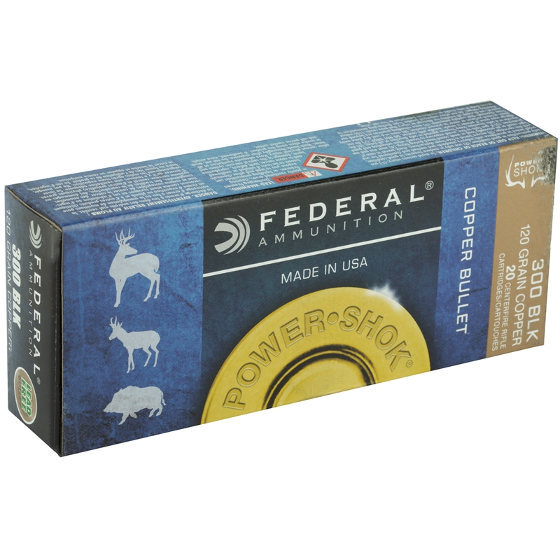 Federal Power-Shok 300 AAC Blackout Ammo 120 Grain Copper HPLF