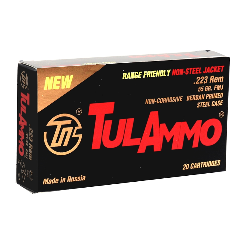 TulAmmo Range Friendly 223 Remington 55 Grain Full Metal Jacket Steel Case