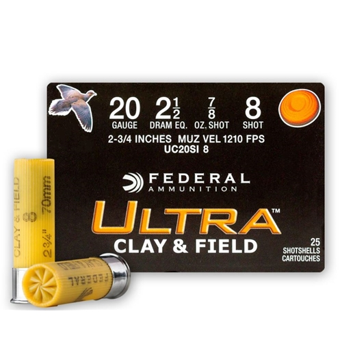 "Federal Ultra Heavy Clay & Field 20 Gauge Ammo 2 3/4"" 1 oz.#8 Shot 250 Rounds"