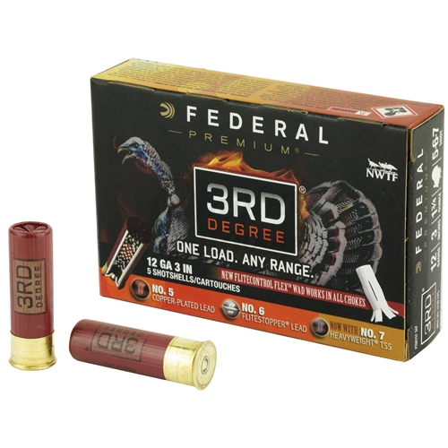 "Federal Premium 3rd Degree Turkey 12 Gauge 3"" 1-3/4 oz # 5,6,7 Shot"