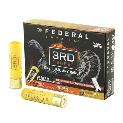 "Federal Premium 3rd Degree Turkey 20 Gauge Ammo 3"" 1-7/16 oz 5,6,7 Shot"