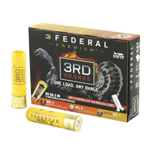 "Federal Premium 3rd Degree Turkey 20 Gauge Ammo 3"" 1-7/16 oz 5,6,7 Shot"