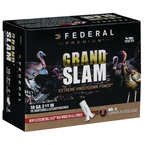 """Federal Grand Slam Turkey 10 Gauge 3.5"""" 2 oz #4 Shot Flightcontrol Flex Wad"""