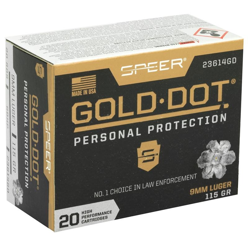Speer Gold Dot 9mm Luger Ammo 115 Grain JHP