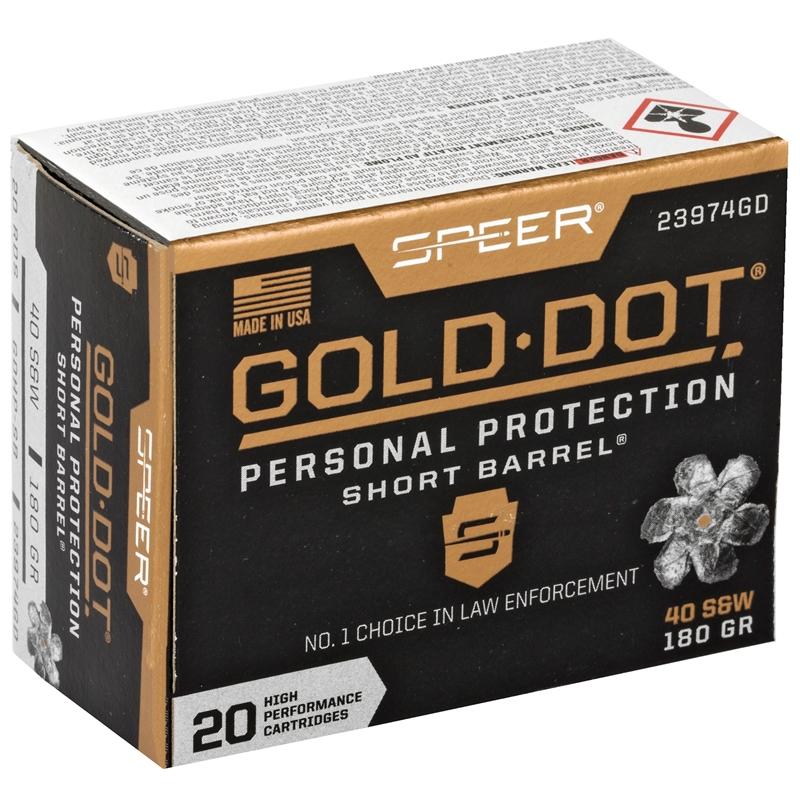 Speer Gold Dot Short Barrel 40 S&W Ammo 180 Grain JHP