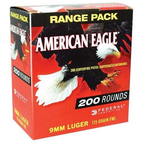 Federal American Eagle 9mm Luger 115 Grain FMJ Range Pack