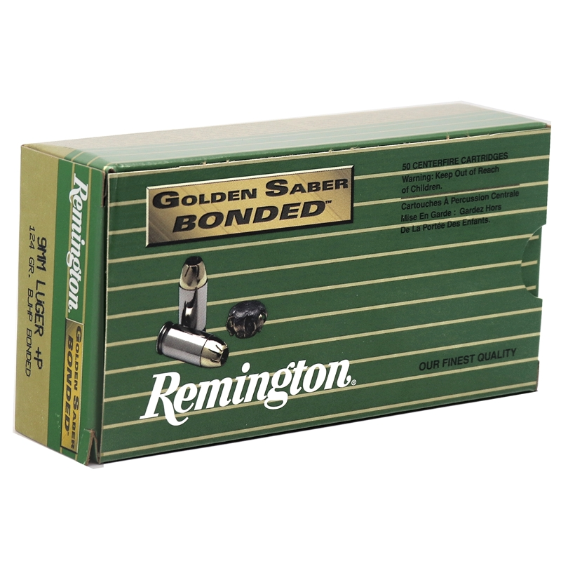 Remington Golden Saber Bonded 9mm Luger Ammo 124 Grain +P Brass Jacketed Hollow Point