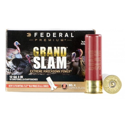 "Federal Grand Slam Turkey 4DE 12 Gauge 3"" 1-3/4oz #4 Shot FlightControl Flex Wad"