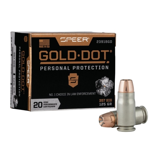 Speer Gold Dot 357 SIG Ammo 125 Grain JHP