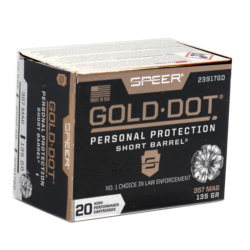 Speer Gold Dot Short Barrel 357 Magnum Ammo 135 Gr JHP