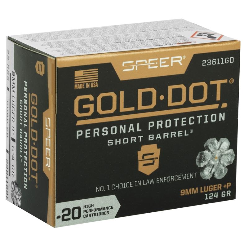 Speer Gold Dot Short Barrel 9mm Luger Ammo +P 124 Grain JHP