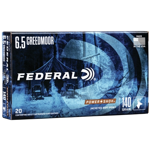 Federal Power-Shok 6.5 Creedmoor Ammo 140 Grain Jacketed Soft Point