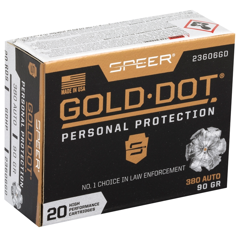 Speer Gold Dot 380 ACP AUTO Ammo 90 Grain JHP
