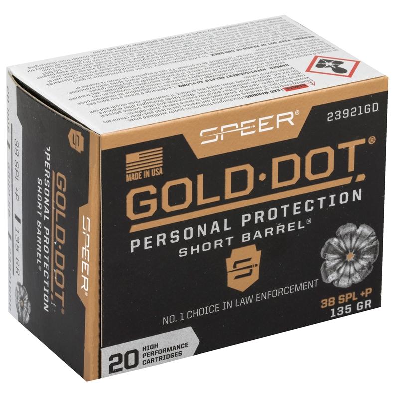 Speer Gold Dot Short Barrel 38 Special Ammo 135 Grain +P JHP