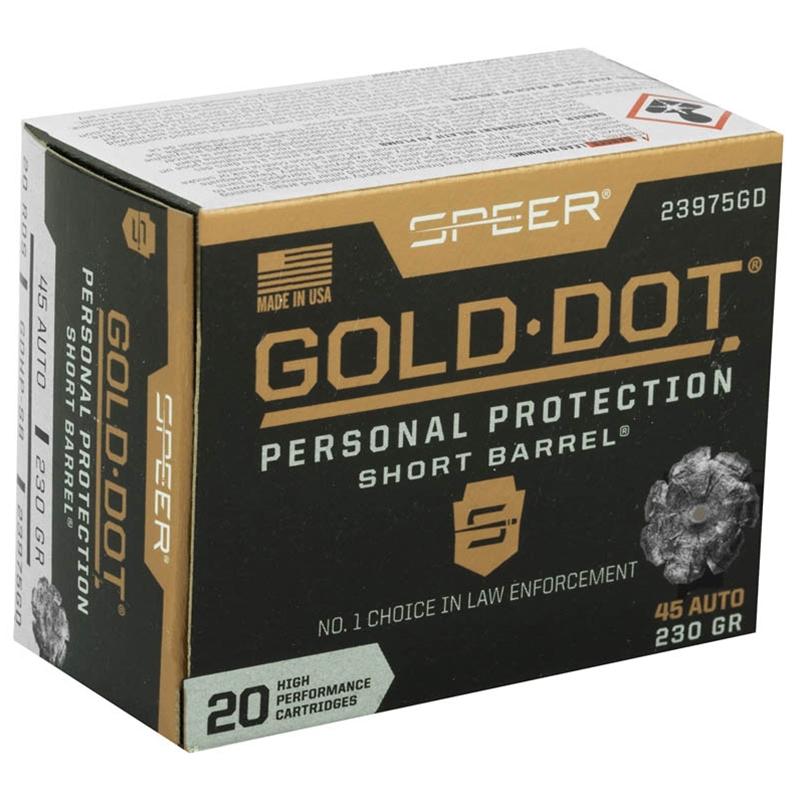 Speer Gold Dot Short Barrel 45 ACP AUTO Ammo 230 Gr JHP