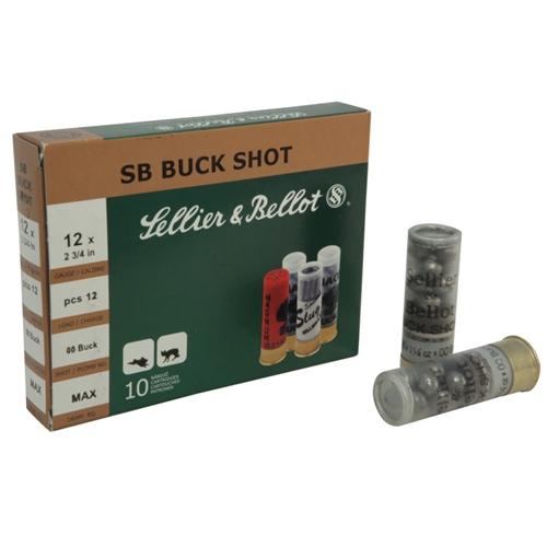 "Sellier & Bellot 12 Gauge 2-3/4"" 00 Buck 12 Pellets"