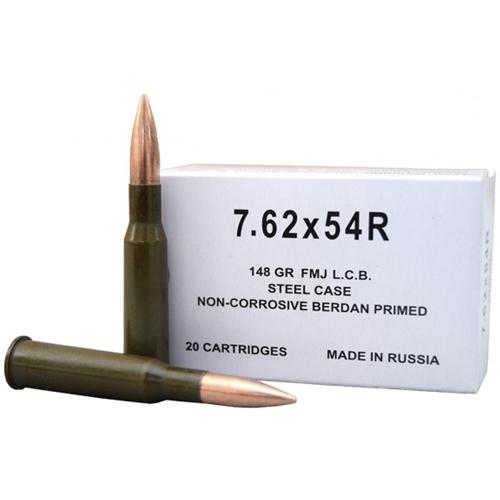 Wolf 7.62x54R Ammo 148 Gr FMJ Steel Case